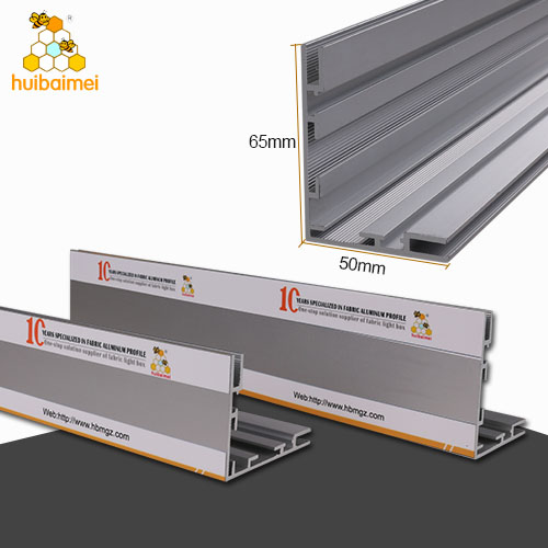 50mm and 65mm double use light box frame single side fabric extrusion aluminum profile