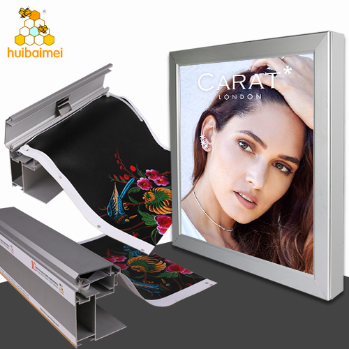 Front cover open 100mm snap photo frame fabric aluminum profile for large size fabric light box