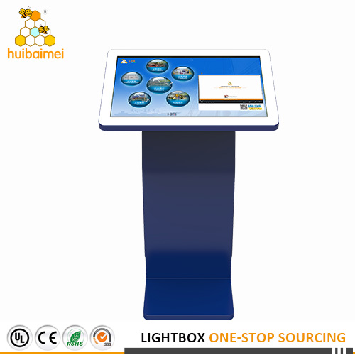 32inch advertising touch screen kiosk player with blue color stand