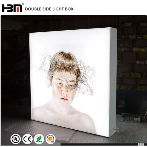 100mm double sided edgelit LED fabric light box for Exhibition gallery