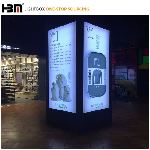 80mm aluminum frame backlit display Pillar led backlit square light box sign