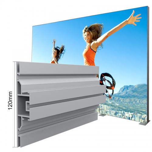 Made in china manufacture 120mm exhibition alu profile double face SEG fabric lightbox frame